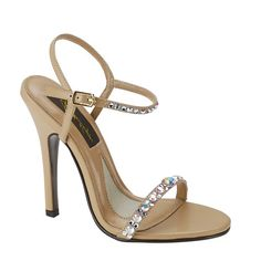 This strappy nude heel is adorned with rhinestones along the straps. The ultimate heel that is perfect for any pageant or special occasion.  The Pageant Planet is proud to represent the Johnathan Kayne, Touch Ups, and Dyeables brands to provide you with an amazing selection of shoes for pageant and everyday use.