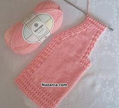 TIĞLA İLMEK ATILAN ŞİŞLE ÖRÜLEN BEBE YELEK   Nazarca.com Baby Knitting Patterns, Baby Sweater Knitting Pattern, Hand Knitting, Knitted Baby Clothes, Baby Cardigan, Baby Sweaters, Baby Dress, Crochet Top, Women