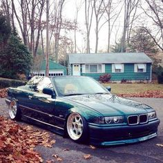 BMW E36 3 series cabrio green slammed