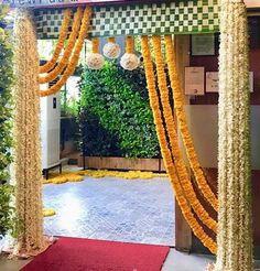 Uber Chic & Affordable Roka Ceremony Decor Ideas at Home (Within Wedding Gate, Wedding Entrance, Gate Decoration, Entrance Decor, Wedding Stage Decorations, Diwali Decorations, Indian Wedding Flowers, Ganapati Decoration, Mehndi Decor
