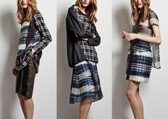 Marissa Webb – Pre Fall 2014-Optical Block Patterns – Soft Inky Tartan - Bleed and Watercolour Markings – Blurring and Distortion – Print and Weave Mixes