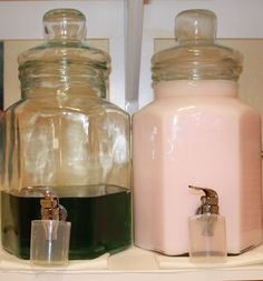 Laundry Room Ideas: Store liquid detergent and fabric softener in beverage carafes. They'll look so much prettier on your shelf than the in original plastic bottles.