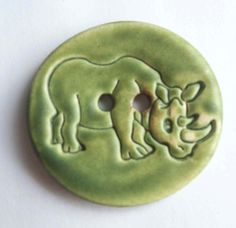 Large Rhinoceros Ceramic Button by buttonalia on Etsy, $5.00
