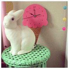 Heico Sitting Rabbit lamp is available at Raggedy Eve Children's Boutique raggedyeve.com.au / Ice Cream clock by nestaccessories.com.au