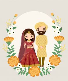 Cute Indian Couple In Traditional Dress On Flower Wedding Invitation Card