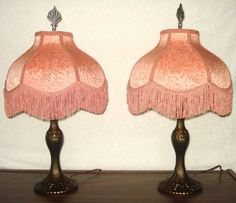 2 Vintage Table Lamps With Victorian Lamp Shades Fringe