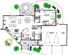 3 bedroom, 2 bath passive solar home design. With a few minor modifications, this would be just about perfect for me. Well, future me. The one with kids and a degree, not the starving student.
