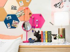 Don't settle for a basic bulletin board. These colorful, custom cork board projects from HGTV will help you stay organized and double as wall art for your dorm. >> http://www.hgtv.com/design-blog/design/custom-cork-boards-for-your-dorm-room?soc=pinterest