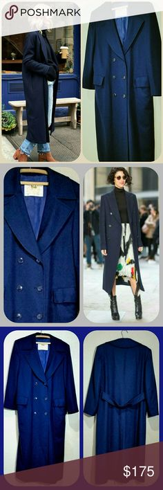 """Pendleton Navy Blue Wool Trench Coat Double breasted dark blue soft wool overcoat.  Sophisticated styling... a wardrobe classic must have that will last in good stead for years. This coat will fit up to a size 14 (XL),  but a more comfortable fit for size 10 - 12. Best fits a petite.  I am 5'2"""" tall and it's sleeves fit me exactly right, with the length falling a bit below mid calf. Measurements taken flat: Pit to pit 20"""" Shoulders 17"""" Shoulder to cuff 22"""" Length 48"""" Beautiful,  soft wool in…"""