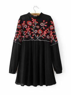 #AdoreWe #JustFashionNow yinbo Good-Natured Black Stand Collar Embroidered Dress - AdoreWe.com