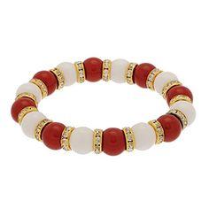 Alabama Crimson Tide Colors Dark Red & White Beaded Stretch Bracelet with Rhinestones in Gold Tone Beads Judson http://www.amazon.com/dp/B00KTV4X4O/ref=cm_sw_r_pi_dp_ySK4tb0D4W4QV