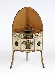 """1780-1800 British Washstand (shown open) at the Victoria and Albert Museum, London - From the curators' comments: """"This washstand has a double folding top which when opened originally revealed a bowl for washing. When folded up, the top also protected walls from splashes."""""""