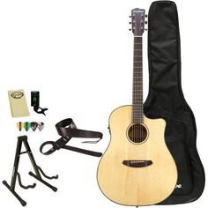 Breedlove Discovery Dreadnought CE Acoustic Electric Guitar with Breedlove Gig Bag and ChromaCast Accessories, Brown