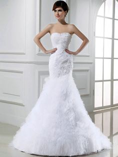 $372.59 Brilliant Mermaid Tulle Tube Top Beading Wedding Dresses #Cheap #wedding #dresses #