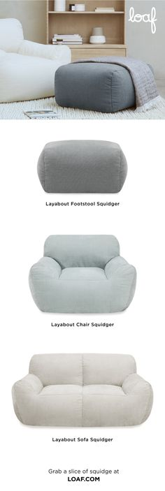 """Behold the """"squidger""""! This newly created sofa, armchair and footstool category is our squishiest yet. It's deconstructed so there are no hard edges and the durable foam filling makes it a favourite for kids who love sofa jumping. Dive on! Pleated Curtains, Curtains With Blinds, Curtain Accessories, Pencil Pleat, Roman Blinds, Decoration, Things That Bounce, Mattress, Armchair"""
