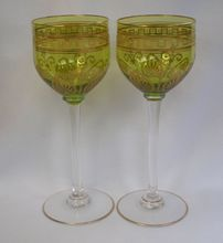 Pair, Crystal Stemmed Wine Glasses  , Vintage 1920's found on Ruby Lane.     ...Love These