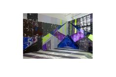 Anna Kunz, 2nd ave installation view, 2010, 14'x20'x20', latex, scrim, wall painting, daylight and painted floor