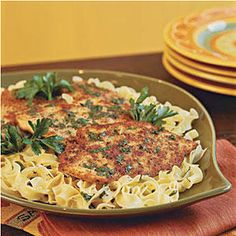 Quick Chicken Piccata - Quick-Fix Chicken Suppers - Southernliving. Recipe:  Quick Chicken Piccata  Flattened chicken breasts absorb tons of flavor when cooking. Lemon juice, butter, and fresh parsley finish off this tasty dinner. Serve over warm egg noodles.
