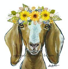 Goat art print, Goat sunflower art decor from original canvas goat painting, goat canvas art, Cute goat with flower crown art Goat Paintings, Animal Paintings, Animal Drawings, Original Paintings, Sunflower Canvas, Sunflower Flower, Crown Art, Goat Art, Cute Goats