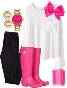 Pinky Lee by raining-crystals featuring hunter boots ❤ liked on PolyvoreOrganic by John Patrick long sleeve t shirt / HM , $9.20 / Hunter boots, $110 / Kate Spade jewelry / Initial jewelry / Hair bow / Essie nail polish, $17