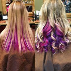 Hot pink and purple peekaboo hair