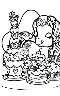 Pony And Sweets Coloring Page For Kids Girls Pages Printables Free