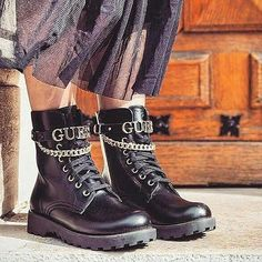 </li><li>Zip and lace-up fastening.</li></ul><br /><br />Removable strap with chain and logo. Low Boots, Combat Boots, Leopard Nikes, Star Boots, Guess Girl, High Heels, Shoes Heels, Edgy Look, Guess Shoes