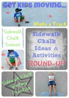 Sidewalk Chalk Ideas  Activities ROUND-UP! In Lieu of Preschool #linky #pinterest kid-blogger-network-activities-crafts