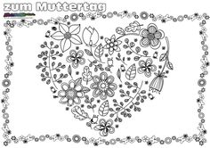 Ausmalbild Blumenherz. Muttertag Malvorlage Mandala, Valentines, Cards, Heart, Party, Amor, Hearts, Profile, Mothers Day Coloring Pages