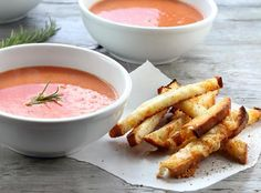 "Rosemary Tomato Soup with Grilled Cheese ""Fries"" - Foodista.com"