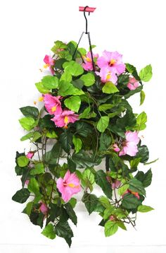 Fourwalls 45 cm tall Hibiscus Hanging Basket Decorative Artificial Plant(pink)