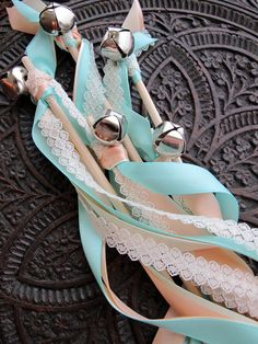 Peach, Ivory, Turquoise, Lace Wedding Wands.