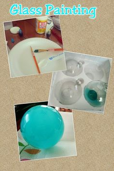 Glass Painting Fun, easy and a very creative idea. All you need is Modge Podge Glossy (I used matte), water and food coloring.  1 teaspoon Modge Podge, 1.5 teaspoon water, 3 drops blue food coloring, 1 drop green (I used the neon colors) I am doing a beach theme even and needed Tiffany blue to make the fisherman glass floats so I used glass ornaments.
