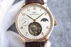 IWC Portuguese Tourbillon Power Reserve Moonphase RG White Dial on Brown Leather Strap