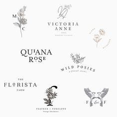 modern and feminine logo designs and premade logos for florists, wedding photographers and all types of creative businesses - beautiful branding with purpose. Typography Logo, Graphic Design Typography, Branding Design, Graphic Design Tips, Graphic Design Inspiration, Illustrator, Florist Logo, Photographer Logo, Creative Web Design
