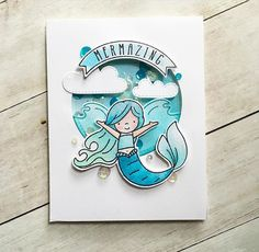 Day 25 of I watercolored the fun mermaid again from… Neat And Tangled, Shaker Cards, Lawn Fawn, Tropical Paradise, I Card, Stampin Up, Stencils, Card Making, Elephant
