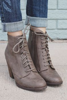 Taupe Round Toe Stacked Chunky Heel Bootie HEATHER-31 – UOIOnline.com: Women's Clothing Boutique