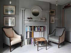 (bookshelves in the fireplace opening) London bedroom sitting area in the re-created Victorian flat of designer Patrick Williams of Berdoulat Home Decor Accessories, Victorian Apartment, American Interior, Bedroom With Sitting Area, Home Decor, London Bedroom, Interior Design, Floor To Ceiling Bookshelves, Buying A New Home