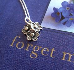 Forget Me Not Flower Necklace Sterling Silver by ilovecharms. $29.00 USD, via Etsy.