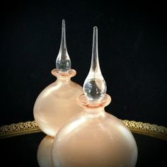 2 Blown Glass Perfume Bottle Set Perfume by OldGLoriEstateSale