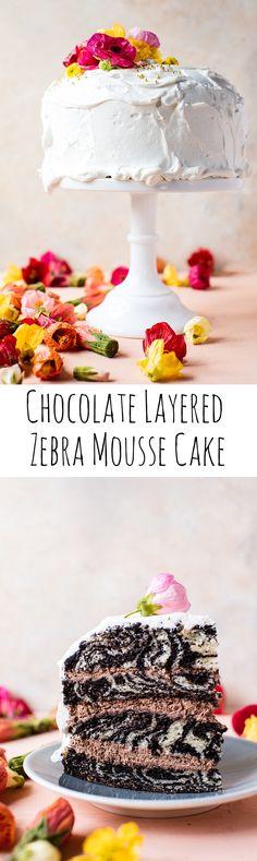 Chocolate Layered Zebra Mousse Cake | halfbakedharvest.com @hbharvest