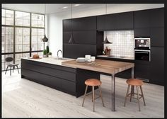 Solid Surface and Laminate Kitchen Black Kitchens, Home Kitchens, Modern Kitchen Island, Serving Table, Kitchen Dinning, Scandinavian Kitchen, Cuisines Design, Apartment Kitchen, Beautiful Kitchens