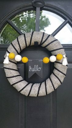 Fall Wreath - Halloween Wreath - Felt Ball Garland - Customizable Chalkboard - 14""