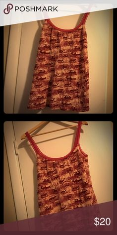 Free People tank top Long tank top with pretty lace straps. Vintage look with deer. Free People Tops Tank Tops