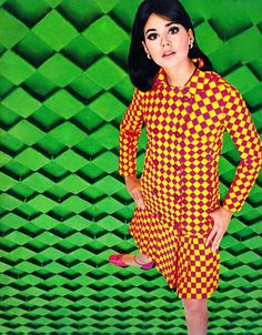 Collen Corby in geometric mod fashions.