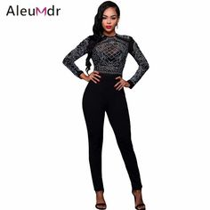 553b7f1c14f Aleumdr 2016 Women Overall Sexy Black Long Sleeves Elegant Mesh Bodice  Formfitting Jumpsuit Long Pants Enteritos Mujer Largos. Long  JumpsuitsJumpsuits ...