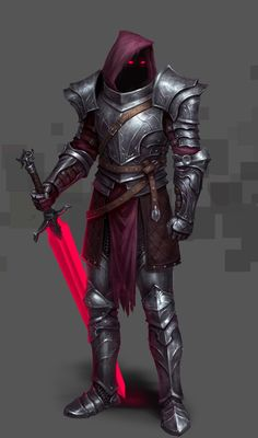 Scarlet knight by lei wu on ArtStation. Male Character, Character Portraits, Fantasy Character Design, Character Concept, Evil Knight, Death Knight, Knight Art, Red Knight, Fantasy Armor