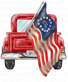 American Flag Pictures, American Flag Art, Fourth Of July Decor, 4th Of July Nails, July 4th, Red Truck Decor, Flag Painting, Flag Design, Old Trucks