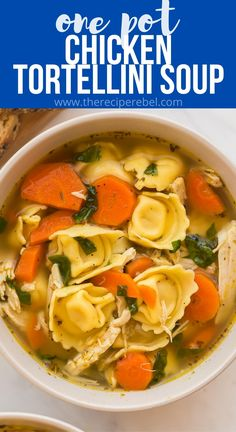 This Chicken Tortellini Soup is loaded with vegetables, tender shredded chicken and cheese tortellini! Easily made stove top or crockpot, with fresh or frozen chicken! #soup #chicken #dinner | easy soup recipes | healthy soup | easy dinner ideas | tortellini soup | chicken soup