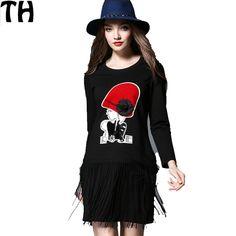 New Casual Women spring Summer Dresses 2016 Tassels fashion Black Dress plus size 5XL loose Dresses Vestidos long sleeve Z026 -- Click image for more details.